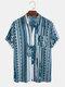 Mens Ethnic Stripe Leaf Print Chest Pocket Short Sleeve Shirts - Blue