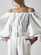 Solid Color Button Lantern Sleeves Blouse For Women - White