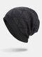 Men Winter Plus Velvet Striped Pattern Outdoor Long Knitted Warm Beanie Hat - Navy
