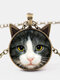 Vintage Printed Black White Cat Face Women Necklace Cat Ear Glass Pendant Sweater Chain - Bronze