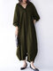 Women Solid Color Pocket Button Long Sleeve Casual Jumpsuit - Green