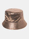 Women Faux Leather Plain Color Outdoor All-match Sunshade Bucket Hat - #03