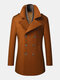 Mens Double Breasted Woolen Lapel British Style Overcoats With Scarf - Brown