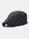 Men Cotton Stitching Stripes Cap Outdoor Leisure Wild Forward Hat Flat Cap - Black