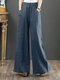 Casual Loose Drawstring Plus Size Wide Leg Pants - Blue