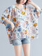 Flower Printed O-neck Plus Size Blouse Casual Women T-Shirt - White