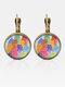 Metal Round Glass Multicolor Cat Print Women Pendant Earrings - Bronze