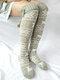 Femmes Noël Elk Tube Stocking Chaussettes en laine Chaussettes décontractées au genou - gris