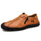 Men Handmade Stitching Cowhide Soft Wearable Sole Business Casual Leather Shoes - Brown