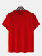 Mens Solid Color Basic Oversized 100% Cotton Short Sleeve T-Shirts - Red
