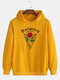 Mens Rose Pattern Chest Print Plain Pullover Casual Hoodie - Yellow