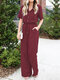 Solid Color Lapel Collar Button Short Sleeve Jumpsuit With Pocket - Wine Red