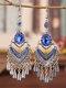 Ethnic Bohemia Vintage Drop-shape Alloy Chinese Style Earrings - Blue.