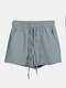 Women Pure Cotton Linen Drawstring Shorts With Pockets Breathable Outdoors Home Loungewear Bottoms - Blue1
