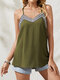 Embroidered V-neck Sleeveless Adjustable Strap Plus Size Sexy Tank Top - Green