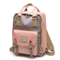 Women Canvas Casual Patchwork Large Capacity Backpack - Pink