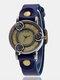 Vintage Thin Band Women Wrist Watch Three Roses Hollow Dial Quartz Watch - Blue