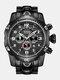 Large Dial Men Business Watch Multifunctional Luminous Calendar Waterproof Quartz Watch - Black Dial Black Band