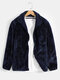 Mens Solid Color Plus Velvet Winter Thick Warm Fleece Reversible Jacket - Blue
