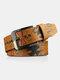 Men PU 110CM Skull Pattern Fashion Cool Pin Buckle Pants Belt - Brown