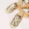 Women Casual Comfortable Sequined Decoration Flat Backless Slippers - Gold