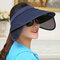 Telescopic Pull Plate Sunshade Anti-ultraviolet Cover Empty Top Hat - Navy