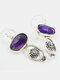 Vintage Amethyst Gem Inlaid Women Earrings Carved Flowers Bridal Accessories Earrings - Silver