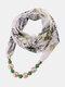 Vintage Chiffon Women Scarf Necklace Beaded Pendant Lattice Flowers Pattern Silk Scarf - #06