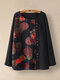 Floral Printed Patchwork Button Long Sleeve Blouse For Women - Black