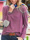Casual Striped Patchwork O-neck Long Sleeve T-shirt - Purple