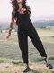 Casual Solid Corduroy Sleeveless Harem Jumpsuit For Women - Black