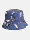 Women & Men Double-sided Cats And Letter Painting Soft All-match Travel Bucket Hat - Blue