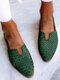 LOSTISY Plus Size Casual Braided Veins Buckle Slingback Flats for women - Green