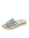 Women Soft Comfortable Platform Shoes Casual Pearl Slides Slippers - Green