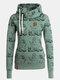 Women Animal Print Drawstring Long Sleeve Casual Hoodie - Green