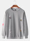 Mens Letter Cartoon Animal Dyeing Fun Round Neck Casual Sports Hoodie - Light Grey