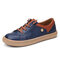 LOSTISY Retro Lace Up Front Soft Comfy Stitching Flat Shoes for Women - Blue