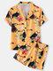 Plus Size Women Cartoon Bird Print Revere Collar Shirt & Shorts Pajama Sets - Yellow