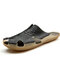 Men PU Splicing Large Size Casual Stitching Slippers - Black