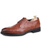 Men Crocodile Embossed Leather Comfy Wearable Lace Up Business Casual Dress Shoes - Brown