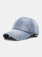 Unisex Denim Solid Color Ripped Edge Sun Protection Fashion Baseball Cap - #02