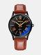 حزام زجاجي أزرق سبيكة Watch أزياء مضيئة ضد للماء كوارتز Watch - بنى