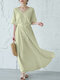 Drawstring Solid Color V-neck Half Sleeve Casual Dress For Women - Green