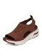 Women Casual Breathable Knitted Fabric Comfy Soft Peep Toe Sports Sandals - Coffee