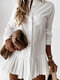 Solid Color Pleated Hem Long Sleeves Casual Dresses for Women - White