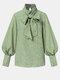 Floral Print Bowknot Long Sleeve Casual Blouse For Women - Green