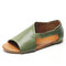 Large Size Peep Toe Hollow Out Elastic Band Flat Casual Western Sandals