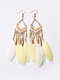 Alloy Feather Bohemia Fringed Feather Earrings Long For Women - White