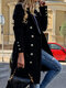 Solid Color Long Sleeve Lapel Collar Button Coat For Women - Black