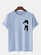 Mens Cartoon Cat Chest Print Cotton Casual Short Sleeve T-Shirts - Blue